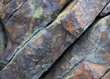 Color in Stone. Detail of rock face in Sierra Mountains Stock Photography