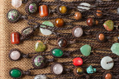 Color stone necklace. Many of color stone necklace Royalty Free Stock Photos