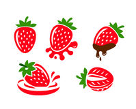 Color Strawberry icons Stock Photography