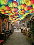 Color street. Beautiful Color street umbrellla love Royalty Free Stock Photo