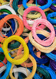 Color string. Image of a pile of color string bound in circles royalty free stock image