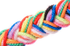 The color strings of a yarn connected in plait Royalty Free Stock Photo