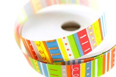 Color striped ribbon spool Royalty Free Stock Photography