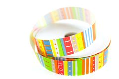 Color striped ribbon spool Stock Images