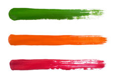 Color stripes. Green, orange and magenta stripes isolated on white background Stock Photos