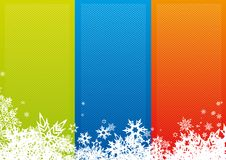 Color stripes with snowflakes. Royalty Free Stock Photography