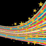 Color strips with golden stars. Colorful strips with golden stars on black background Royalty Free Stock Photo
