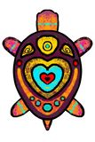 Color, stylized turtle with ornament - illustration. royalty free illustration