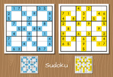 Color sudoku vector set. Color sudoku puzzle vector set with answers Stock Images