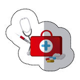 color suitcase health with stethoscope, syringe and treatment Stock Photo