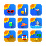 Color summer picture icon. With blue background stock illustration