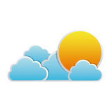color sun with clouds icon Royalty Free Stock Images