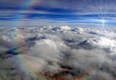 Color sun rays azure blue sky, cumulus clouds,. Abstract azure blue sky with white cumulus clouds, magic sun rays diversity stock photography