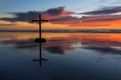 Color Sunset Cross Stock Photos