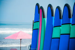 Color surf boards in a stack by ocean Royalty Free Stock Images