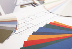 Color swatch and blueprint Royalty Free Stock Photo