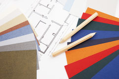 Color swatch and blueprint. Color swatch and pencils on a home decoration blueprint royalty free stock images
