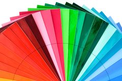 Color Swatch Fan Cutout. Color Swatch Palette for Printing Industry Isolated with Clipping Path stock photography