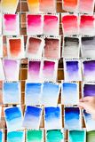 Color swatch paint palette ink draw art background. Color swatch for painting background. watercolor palette or ink mixes on paper. drawing class or courses. art stock image