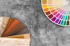 Color swatch samples and wood color guide. On grey background stock image