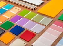Color swatches closeup. Color swatches on wood closeup detail Stock Photos