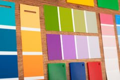 Color swatches closeup. Color swatches on wood closeup Stock Photo