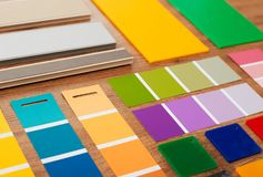 Color swatches closeup. Color swatches on wood closeup detail Stock Image