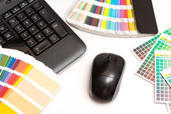 Color swatches and computer keyboard, mouse Royalty Free Stock Photo