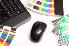 Color swatches and computer keyboard, mouse Stock Image