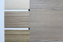 Color swatches of countertops. And particle Board Royalty Free Stock Images