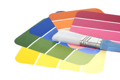 Color swatches and paintbrush Stock Photography