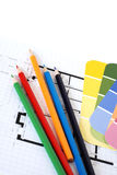 Color swatches, pencils and plans Stock Image