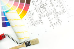 Color swatches, plans and tools Royalty Free Stock Photos
