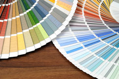 Color swatches on a table with Royalty Free Stock Photography