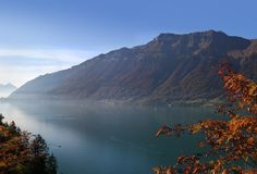 COLOR OF SWISS AUTUMN LAKE THUN, SWITZERLAND stock photo