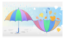Color symbol of autumn weather: rain, falling leaves, umbrellas Stock Photo