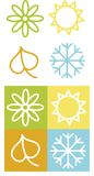 Color symbols of spring, summer, autumn an winter Royalty Free Stock Photos