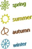 Color symbols of spring, summer, autumn and winter Royalty Free Stock Photos