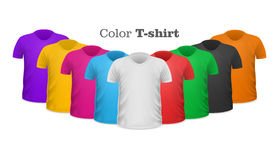Color T-shirts Front View Vector Set Royalty Free Stock Photography