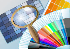 Color table with a magnifying glass Royalty Free Stock Images