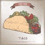 Color taco sketch on grunge background. Stock Image