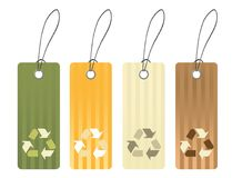 Color tag with recycling icon symbols Stock Images