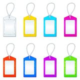 Color tags with ropes, set Royalty Free Stock Photography