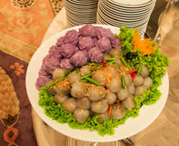 Color Tapioca Balls with Pork Filling in Buffet Line Royalty Free Stock Photos