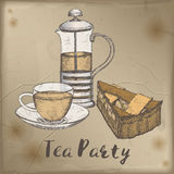 Color tea press, cup and pie slice sketch placed on vintage background. Royalty Free Stock Photography