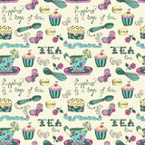 Color tea time pattern Royalty Free Stock Images