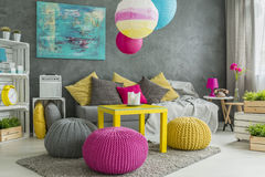 Color in teenager room. Color and imagination in spacious teenager room interior Royalty Free Stock Photography