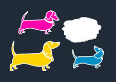 Color template of silhouettes of dachshunds. Vector illustration, background. Royalty Free Stock Photography