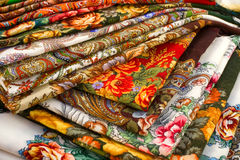 Color textile. A lot of color textile shawles Stock Image