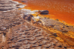 Color and textures in the Tinto river, Huelva, Spain. Stock Image